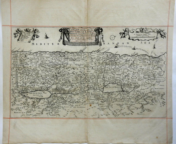 Holy Land Israel Palestine Canaan Jerusalem Dead Sea 1687 Blome engraved map