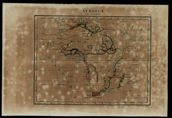 Africa continent Mountains of Moon huge 1837 Tardieu Perrot miniature map