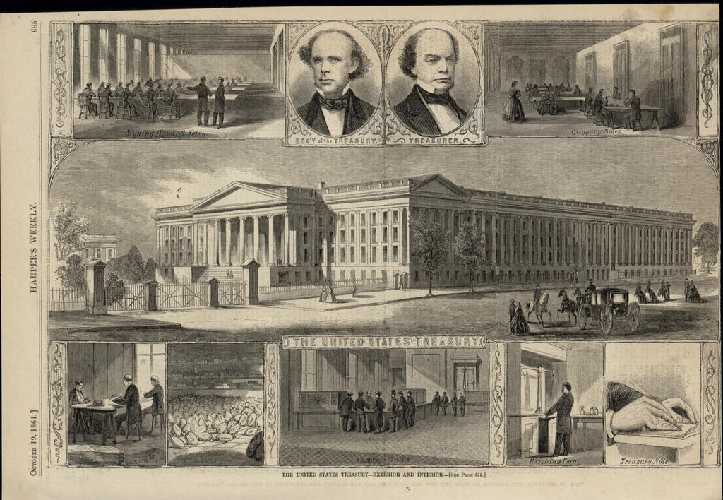 United States Treasury Exterior Interior Views 1861 great old print for display