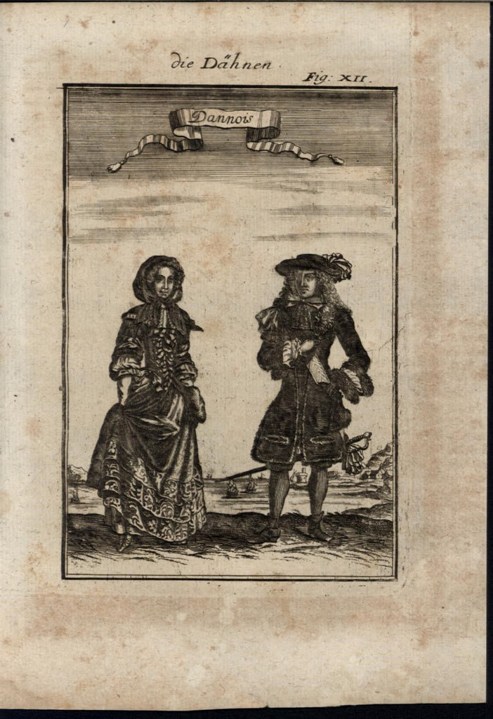 Danish Well Dressed Luxurious Fashion Ethnic 1719 antique Mallet World print