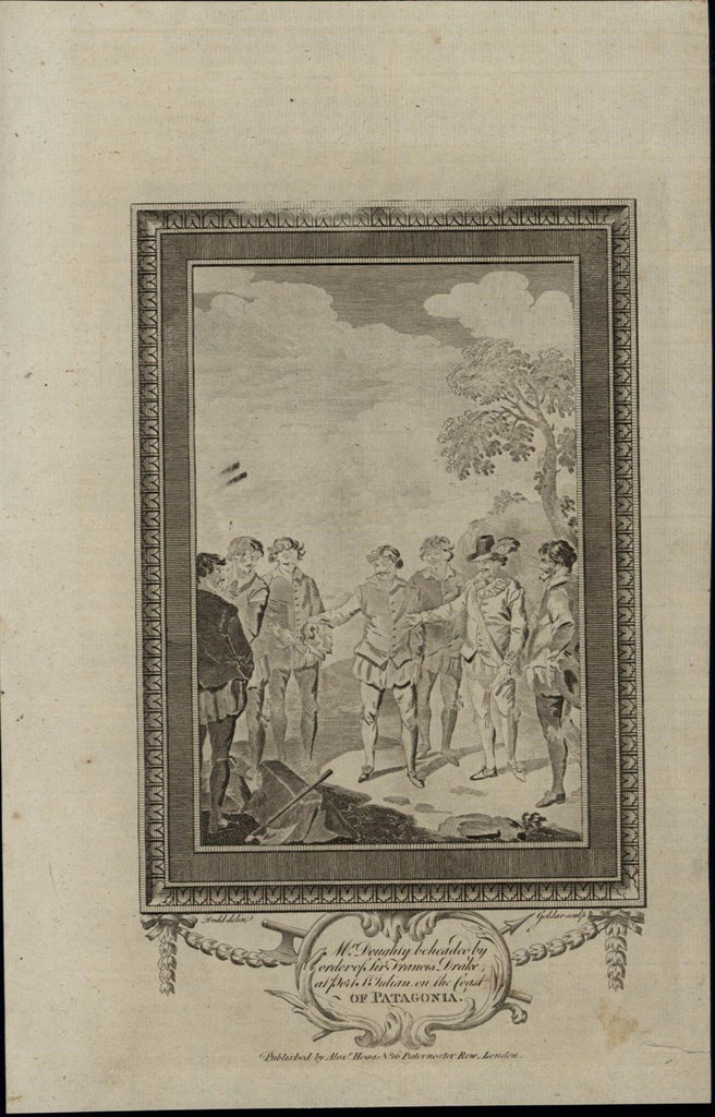 Beheading Execution Patagonia Doughty ca. 1780's fascinating old engraved print