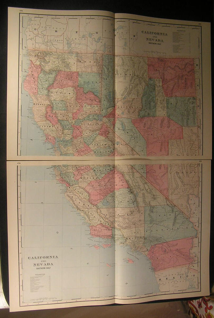 California huge 2 sheet map pair 1894 antique color lithograph map