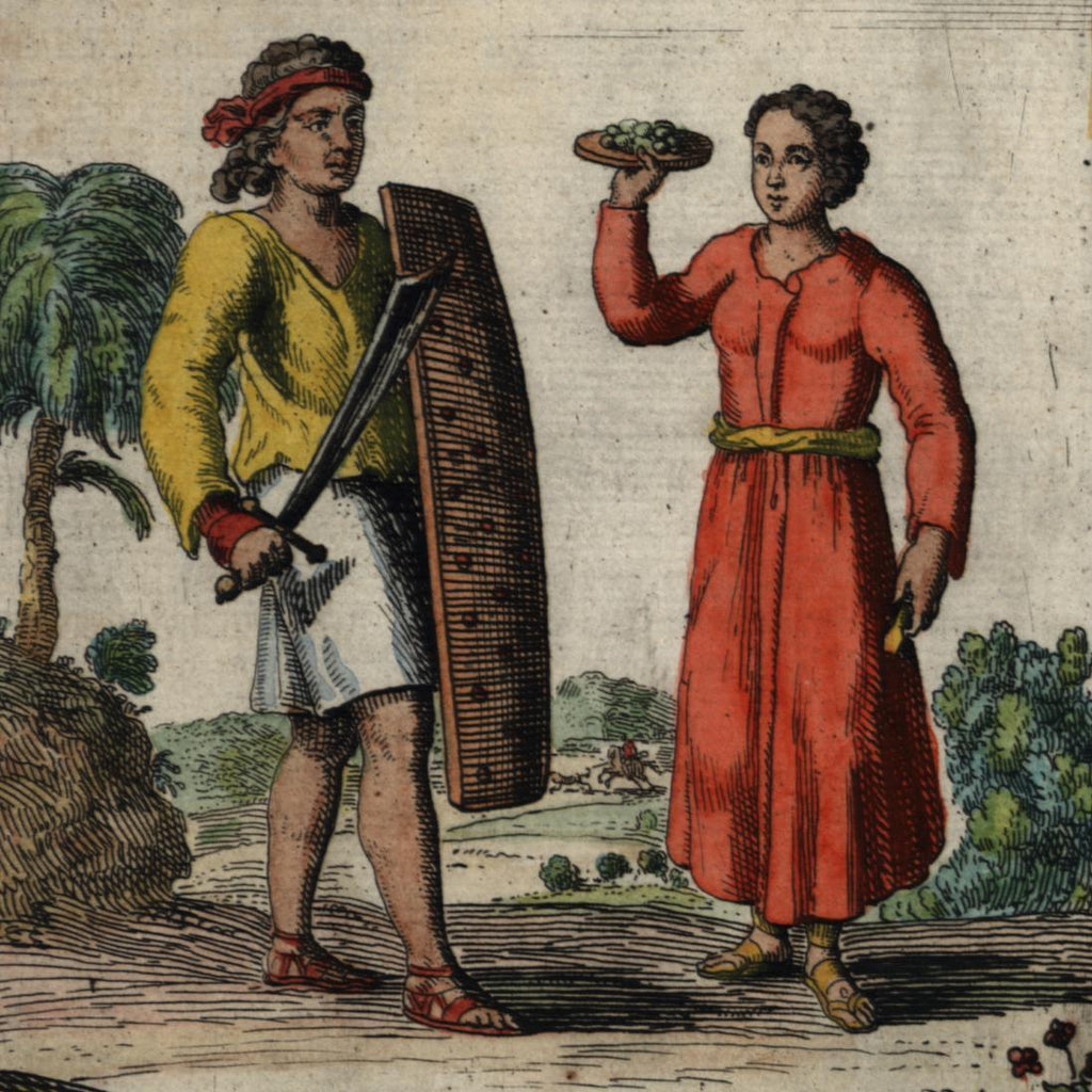 Moluccas Maluku Indonesia Banda Islands 1683 old Mallet costume dress hand color