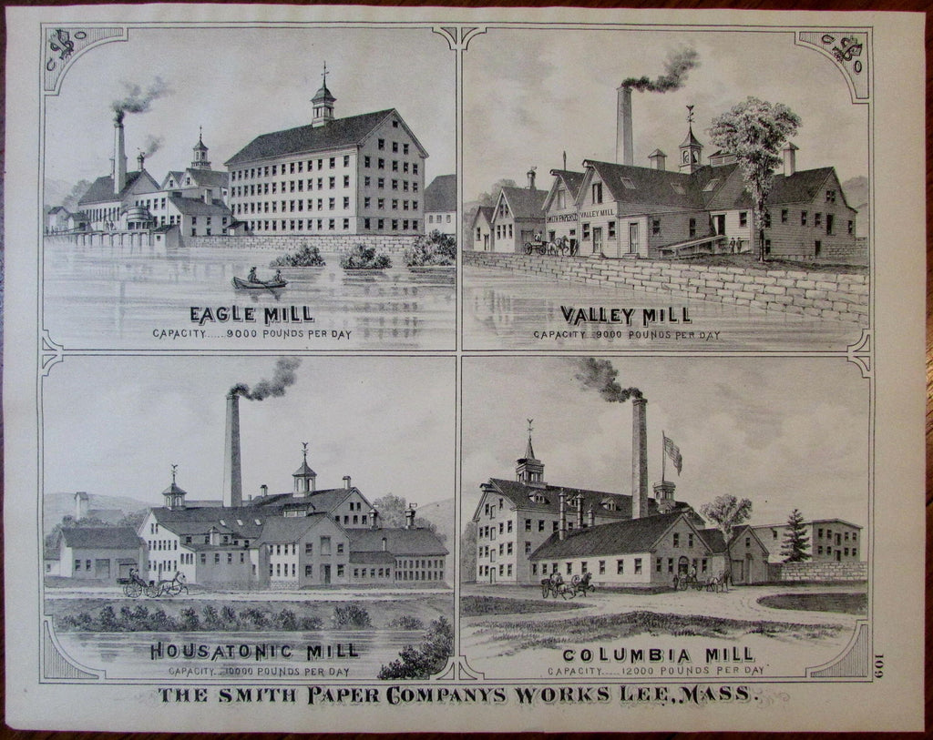 Smith Paper Companys Mills Lee Berkshire Mass. 1876 detailed uncommon old view
