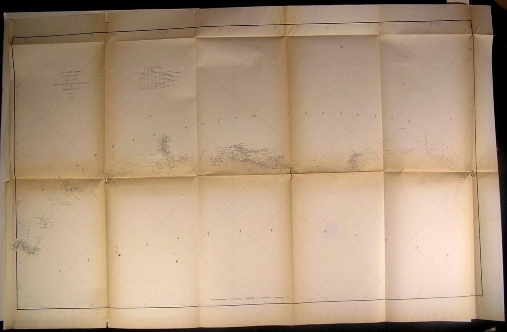 Georgia South Carolina Seacoast Savannah River 1856 U.S.C.S. old nautical chart