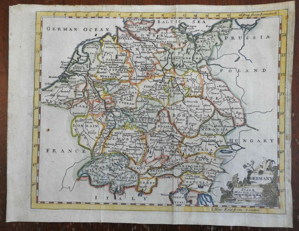 Holy Roman Empire Germany Austria Bohemia Switzerland c.1760 Jeffrys map