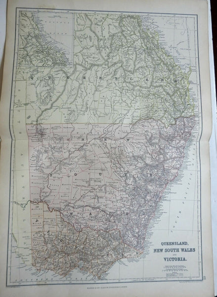 Eastern Australia New South Wales Queensland Victoria 1883 Weller Blackie map
