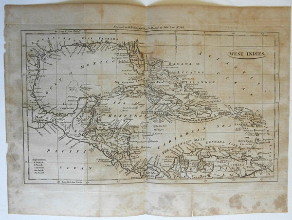 European Colonies in the Caribbean West Indies 1800 Low American engraved map