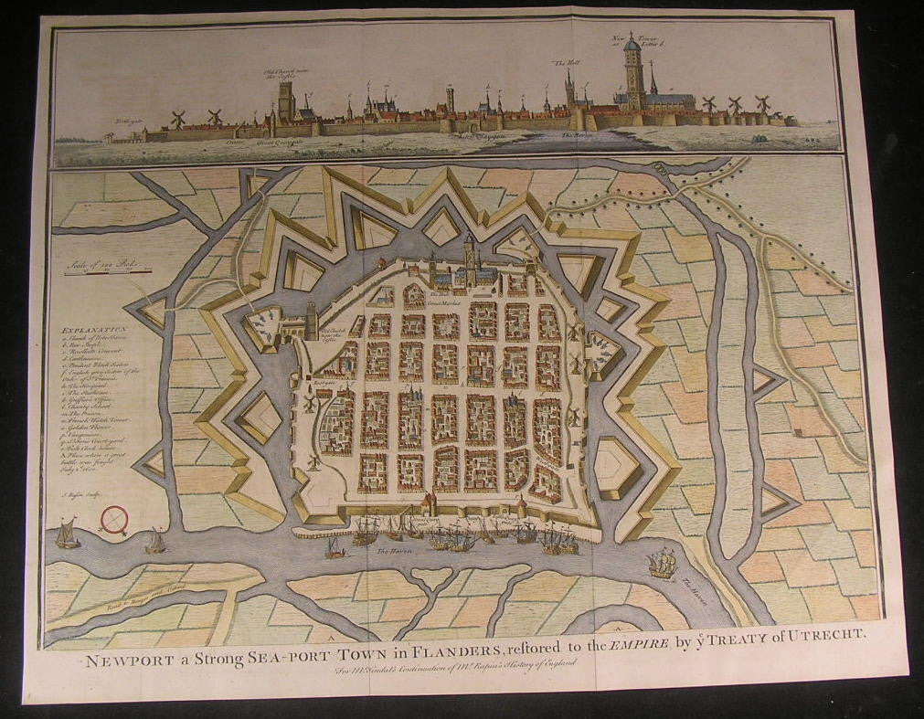 Nieuwpoort Belgium great old large city plan 1740 decorative detailed color map