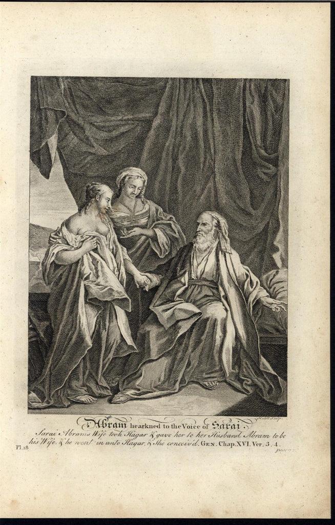Abraham Listening Sarah Voice Hagar  c.1750 antique copper engraved Bible print