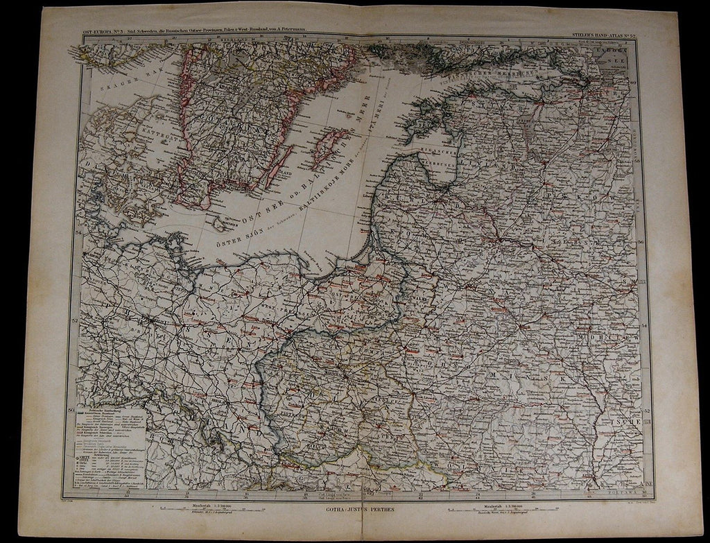 Sweden Russia East Sea Poland Estonia Livonia 1884 fine old detailed map