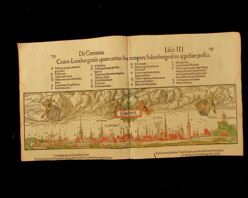 Luneberg Germany panoramic city view c.1550's old hand color print rare lovely
