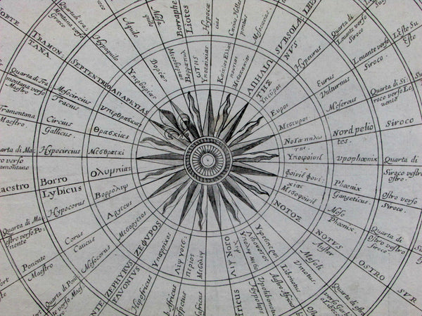 Wind Heads map Compass Rose North South East West 1666 De Fer old antique chart