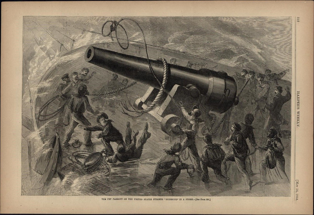 USS Richmond in a Storm 1864 antique Harpers Civil War print