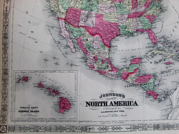 North America United States New Columbia Stickeen Hawaii 1867 rare Johnson map