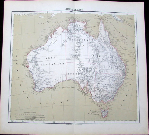 Australia early exploration routes 1875 Flemming scarce folio antique German map