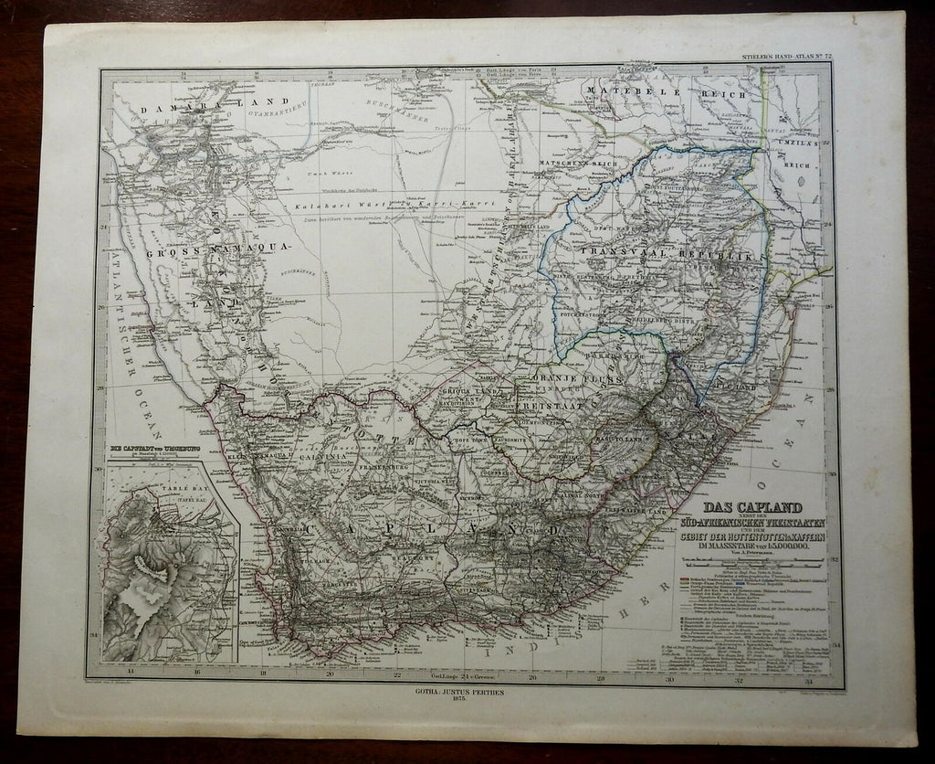 South Africa Cape Colony Boer Republics Orange Free State 1875 A. Petermann map