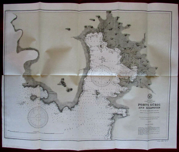 Ports Subic Luzon Silanguin Philippine Islands 1902 detailed nautical chart map