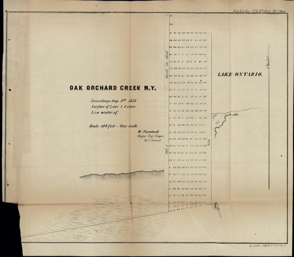 Oak Orchard Creek New York Lake Ontario 1854 antique U.S.G. state survey map