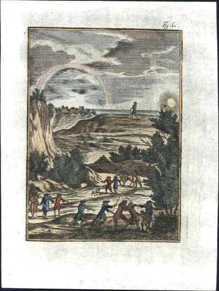 Rainbow Weather Sky ritual dance 1719 charming antique engraved hand color print