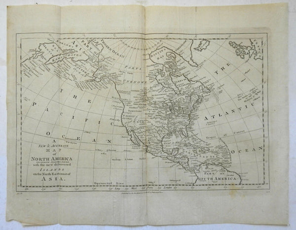 North America New Albion vast Parts Unknown New Discoveries c.1785-95 Bowen map