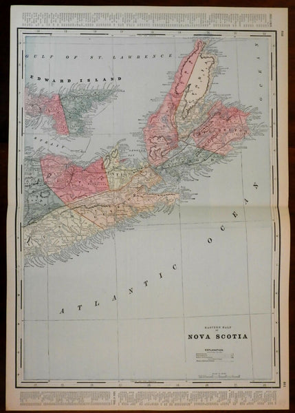 Canada Eastern Nova Scotia 1884 rare large Cram map with original hand color