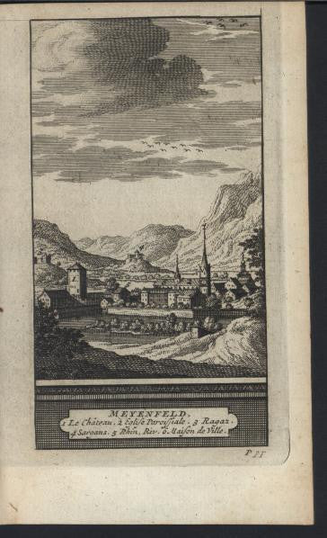 Maienfield Switzerland Castle 1714 antique van der Aa fine view print