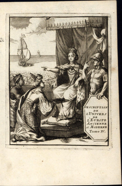 Allegorical Frontis Gods Continents Turkish 1683 Mallet antique engraved print