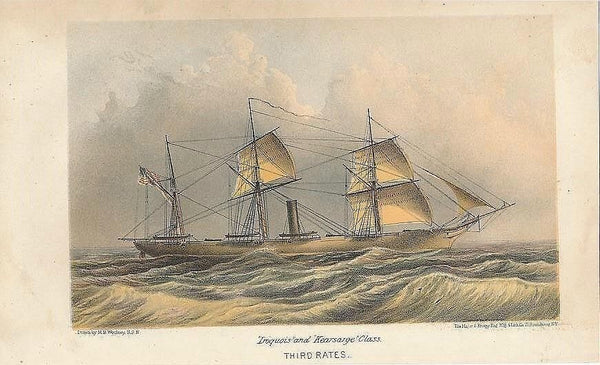 Iroquois Class scarce 1867 original antique color lithograph sailing ship view