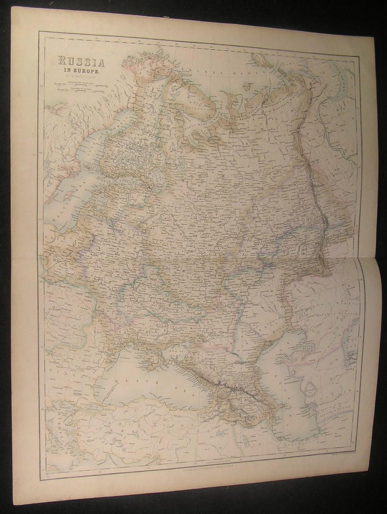 Russia in Europe Crimea Finland 1864 Fullarton oversize antique color map