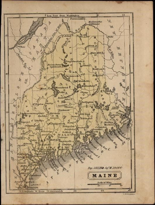 Maine state charming small c.1855-60 scarce Boynton old hand color map