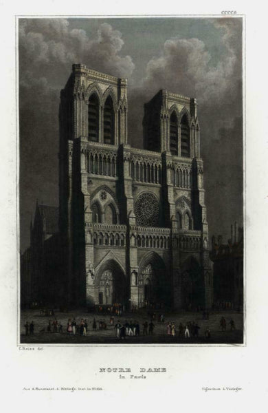 Notre Dame Paris Cathedral c.1850 engraved view beautiful hand color
