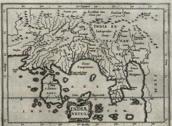 India showing Taprobana Ceylon Ganges 1661 Jansson miniature map