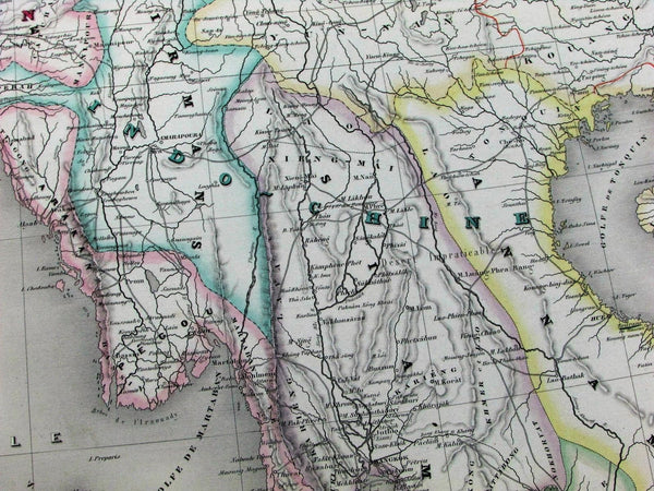 India Hindoostan English colonies Southeast Asia Burma Siam c.1850 huge Brue map