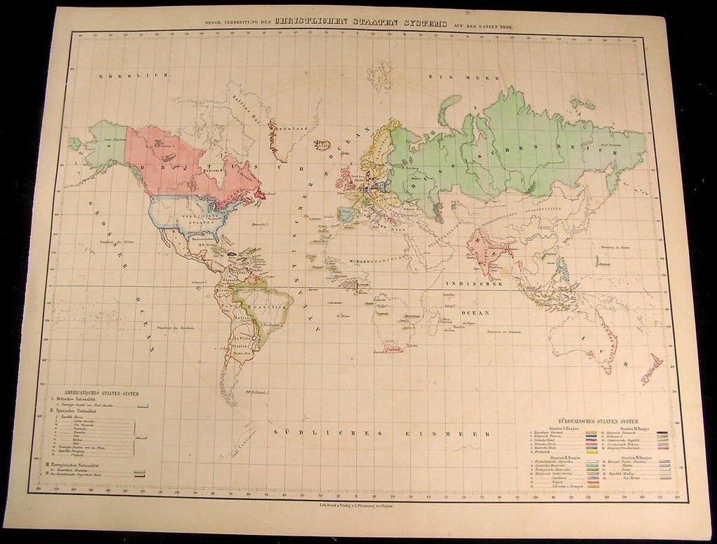 World Map Spread of Christianity Around the Earth 1855 Flemming old antique map