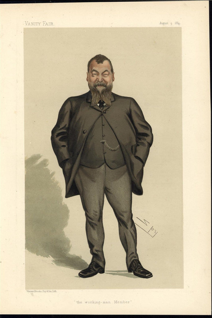 Henry Broadhurst Liberal MP Caricature 1884 antique color lithograph print