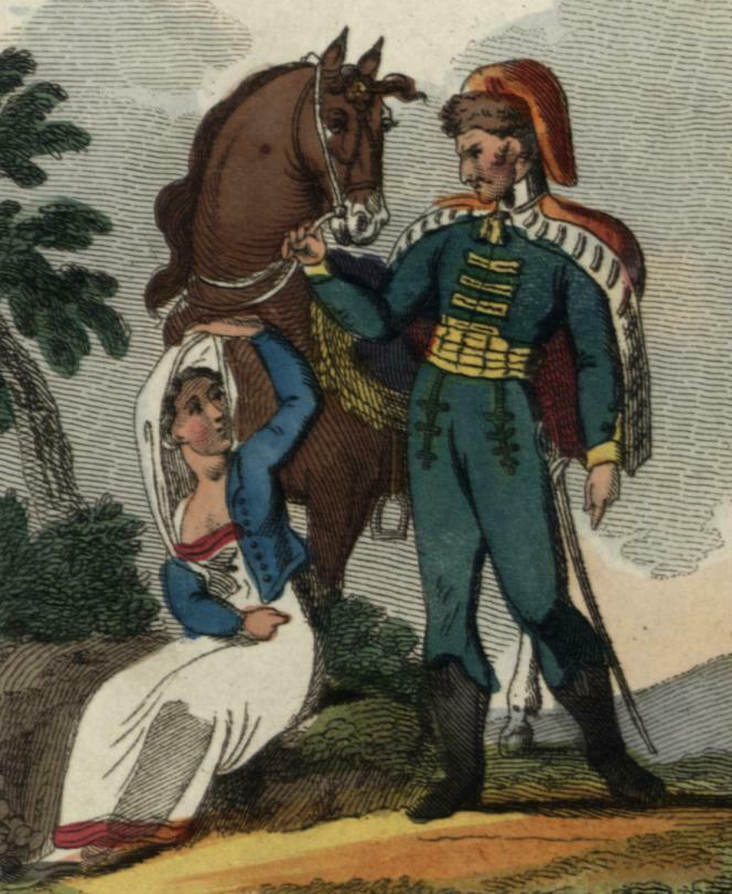 Hungarians Hungary natives military 1820 Fashion Illustration print ethnic dress