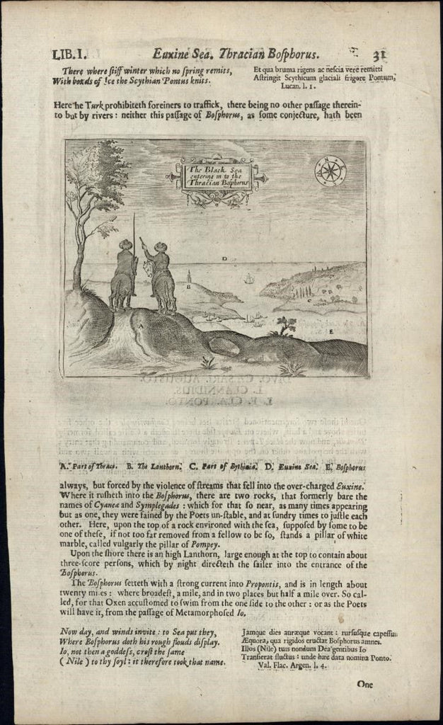 Black Sea Bosphorus Turkey 1670 rare antique engraved birds-eye print primitive