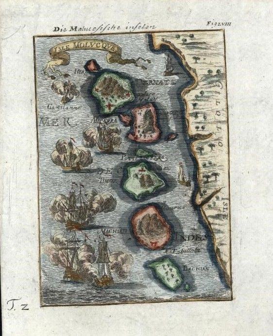 Moluccas Islands Maluku Ternate Timor Halmahera 1719 antique map tall ships