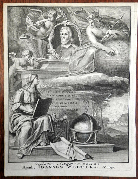 Frontispiece Cluverius Portrait Geography Globe 1697 Wolters engraved frontis