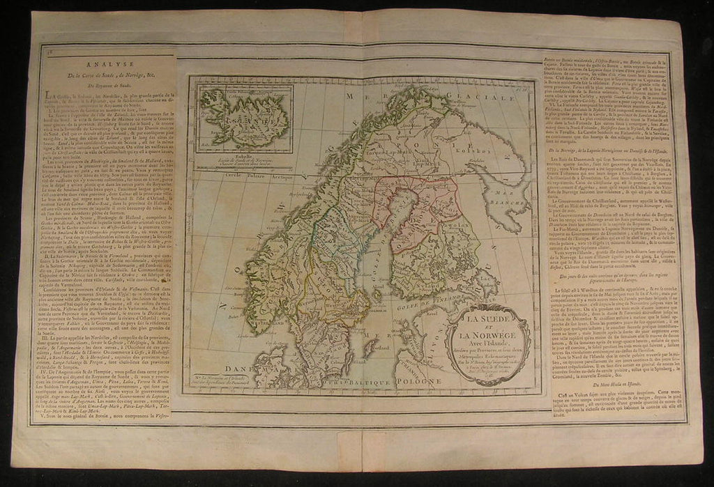 Scandinavia Sweden Norway Baltic Sea 1766 beautiful old vintage antique rare map