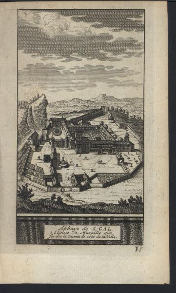 Abbey of St Gall Switzerland 1714 antique van der Aa fine view print