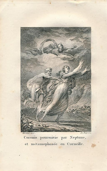 Coronis fleeing from Neptune Gods Delightful 1808 Mythology print