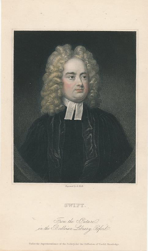 Jonathan Swift c. 1850s nice old hand colored portrait print