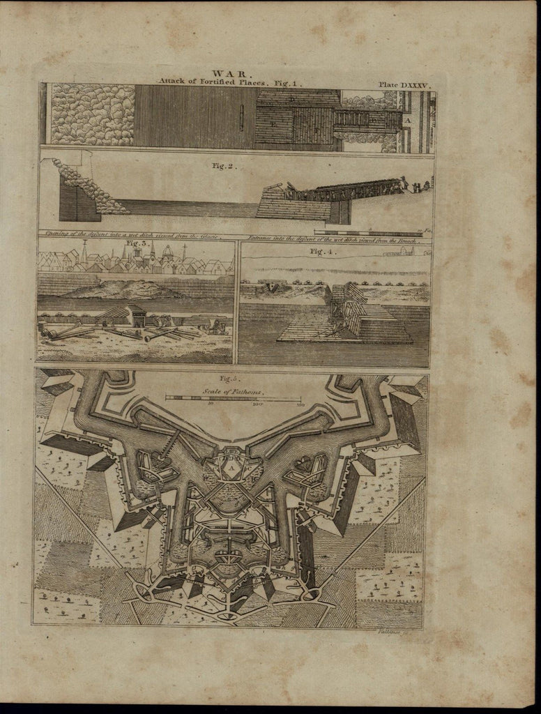 Fortress Ground Plan Battle Plans Wet Ditch nice 1798 antique American War print