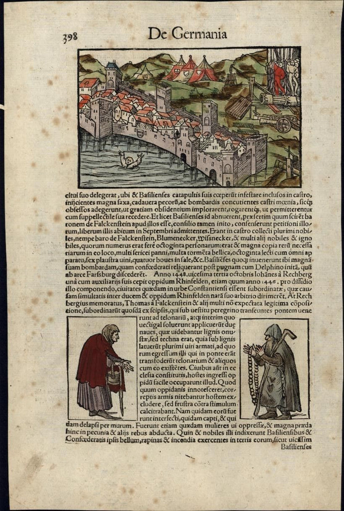Rhine Falls Germany Switzerland drowning 1552 Munster w/ orig. early hand color