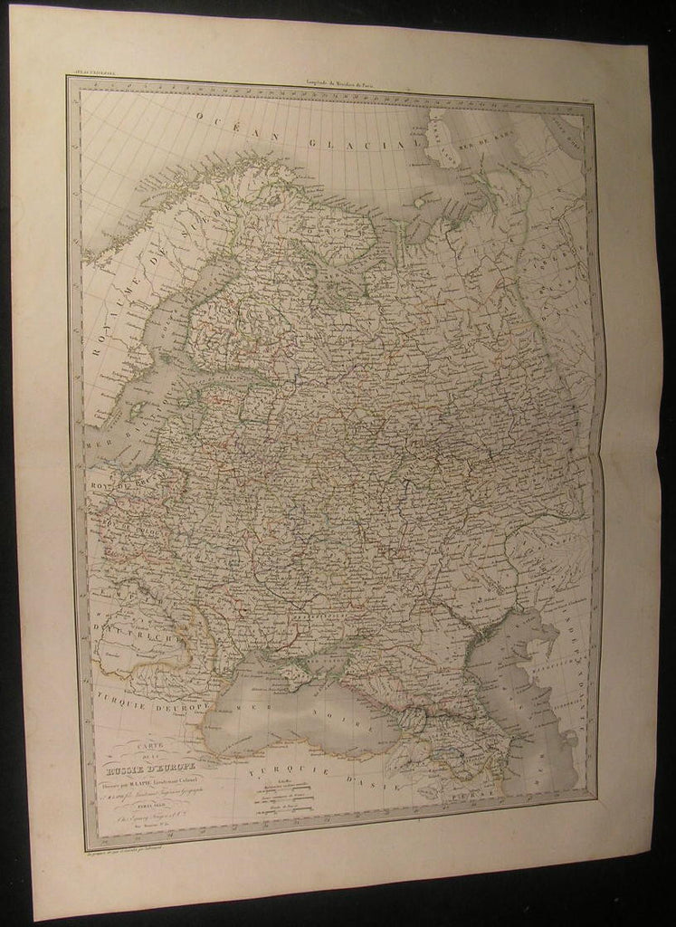Russia in Europe Crimea Ural Mountains Finland 1830 antique Lapie old color map