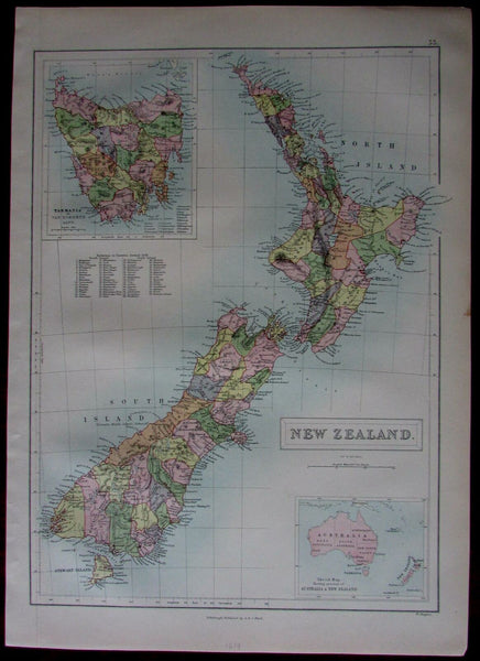 New Zealand islands by themselves Tasmania inset 1879 A & C Black map