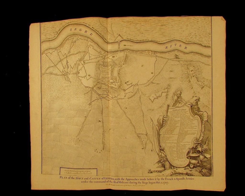 Lerida Lleida Catalonia Spain 1707 town & Castle war 1740 engraved antique map