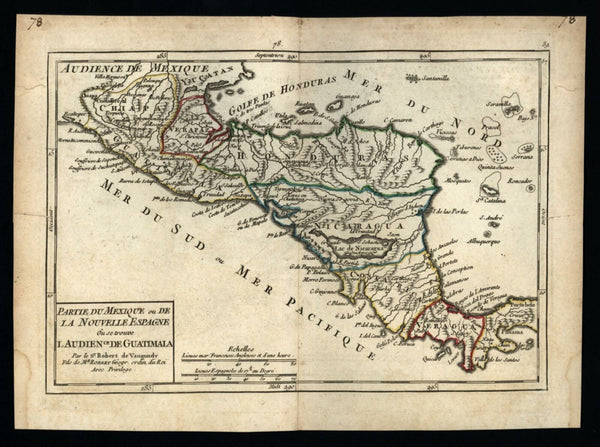 New Spain Mexico Central America Honduras Nicaragua 1748 Vaugondy miniature map